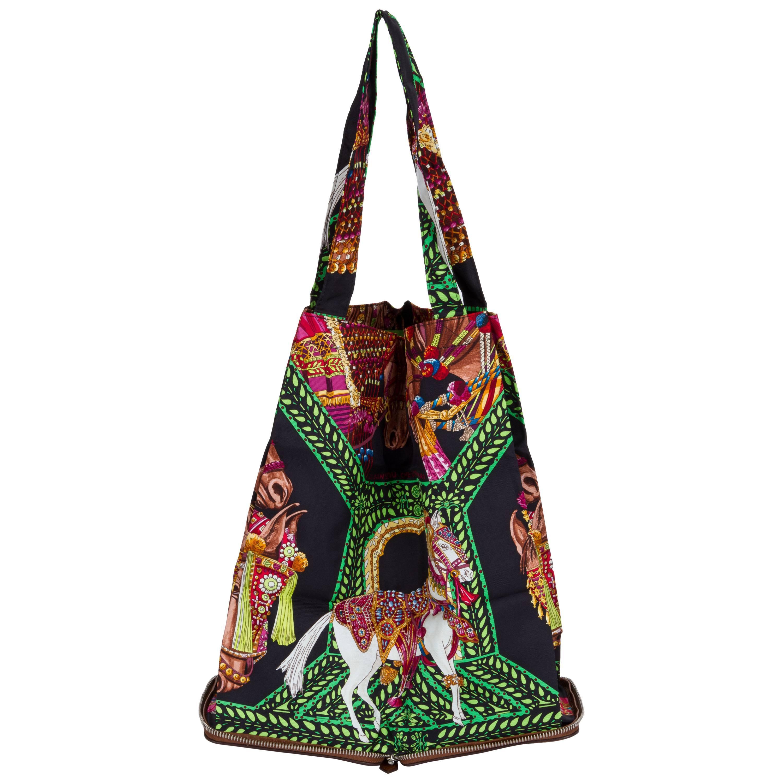 Hermes Brow & Green Horse Silky Pop Bag