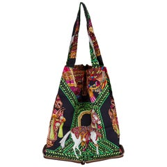 Hermes Brow & Green Horse Silky Pop Bag