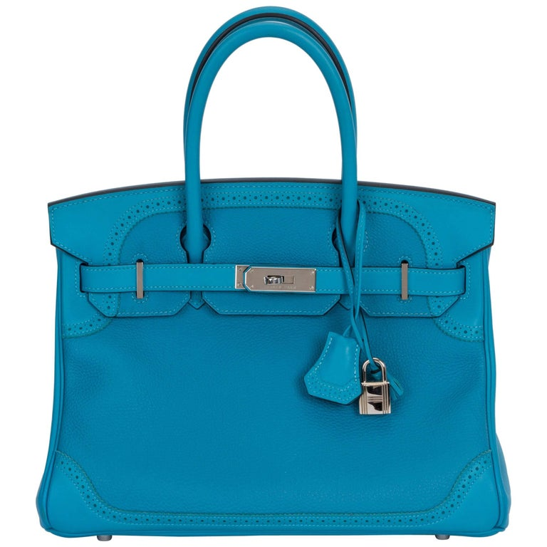 2ac156a6fbd7 Hermes 30 Ghillies Turquoise Birkin Bag For Sale. Hermès 30cm Ghillies  Birkin in turquoise Togo and swift leather with palladium hardware.