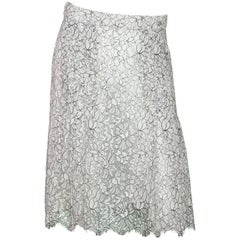 Chanel Black & White Lace Skirt Sz FR40