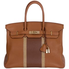 Hermes Rare Birkin 35 Club Gold & Marron Bag