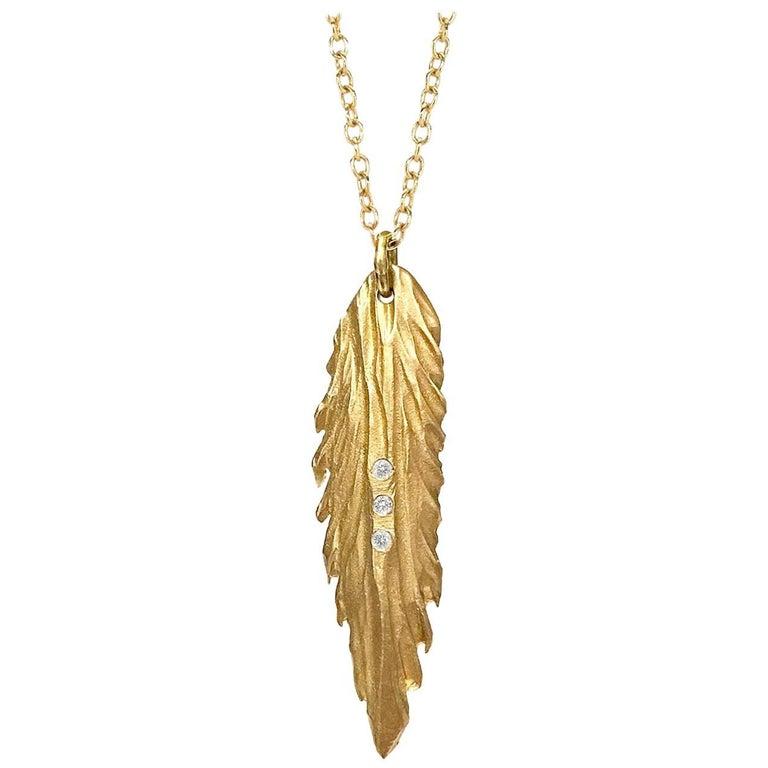 White Diamond Matte Gold Fern Pendant Necklace For Sale