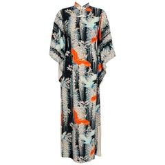 1940's Hawaiian Novelty Crane-Bird Tropical Print Silk Rayon Pake Muu Gown Dress