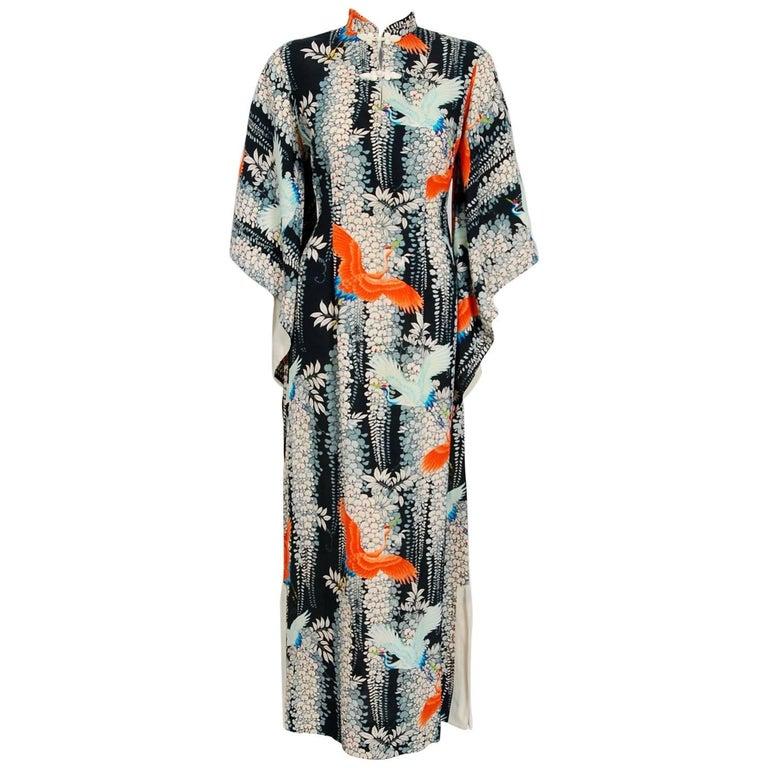 1940's Hawaiian Novelty Crane-Bird Tropical Print Silk Rayon Pake Muu Gown Dress For Sale