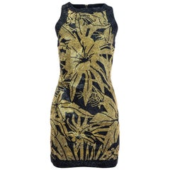 Balmain Black & Gold Crystal Floral Dress Sz FR38