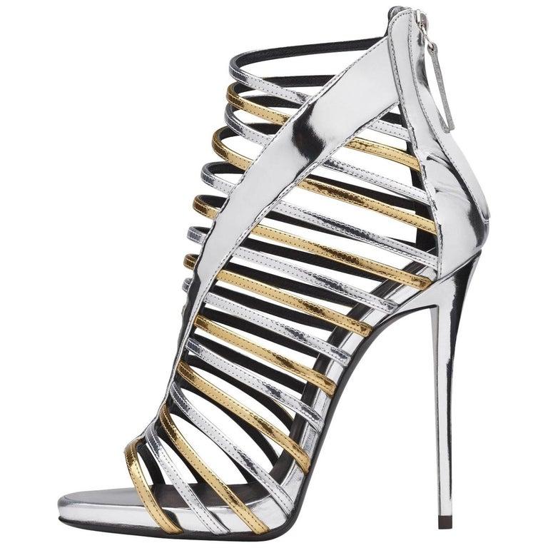 Giuseppe Zanotti Gold Silver Patent Gladiator Evening Sandals Heels