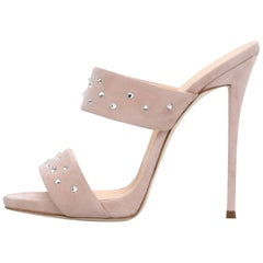 Giuseppe Zanotti Blush Nude Suede Crystal Slide in Mules Heels Sandals