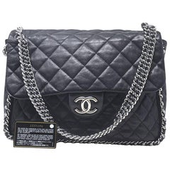 Chanel Black Maxi Silver Chain Around the Handbag Hardware With Card