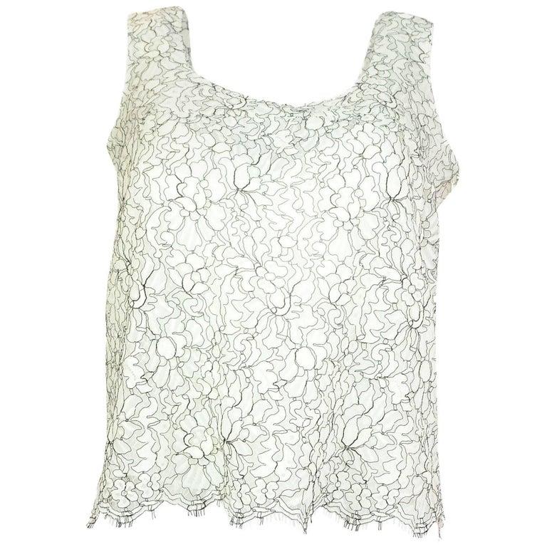 Chanel Black & White Lace Top Sz FR40