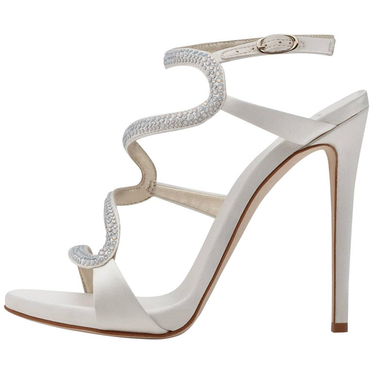 Giuseppe Zanotti White Satin Crystal Snake Evening Sandals Heels