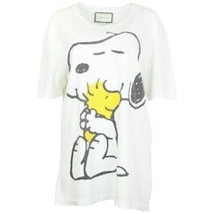 Gucci Men's '16 Snoopy & Woodstock Distressed T-Shirt Sz XL