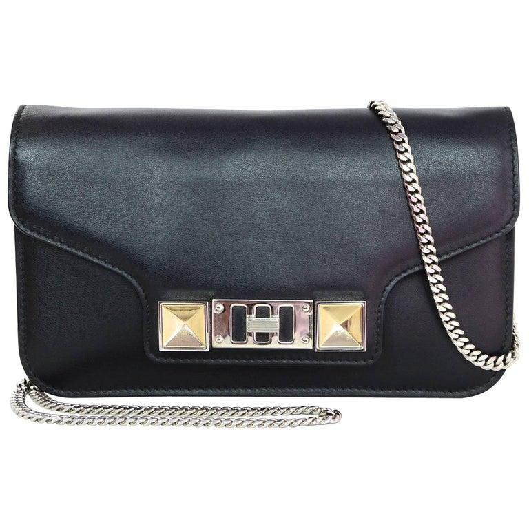Proenza Schoulder Black Leather PS11 Wallet On Chain WOC Crossbody Bag