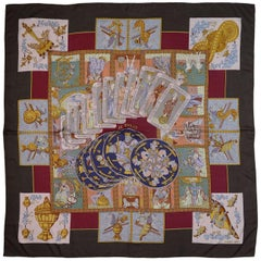 Hermes Brown & Multicolor Le Tarot Card Cashmere & Silk 140cm Shawl Scarf