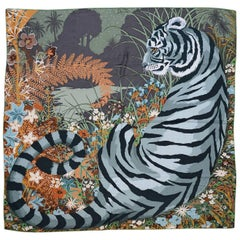 Hermes Green & Brown Tyger Tyger Tiger Cashmere & Silk 140cm Shawl Scarf