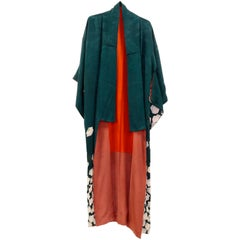 Japanese Vintage Silk Kimono Robe, Circa 1960s