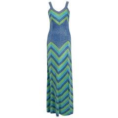 1972 Emilio Pucci Metallic Green Blue Stripe Knit Bias-Cut Plunge Maxi Dress