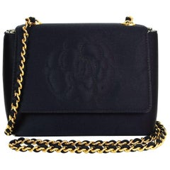 Chanel '90s Vintage Black Satin Mini Camellia Flap Crossbody Bag