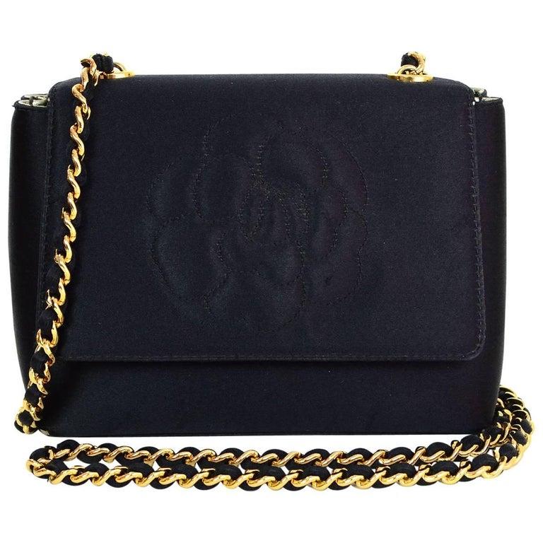 Chanel  90s Vintage Black Satin Mini Camelia Flap Crossbody Bag For Sale f5ab571ee9555