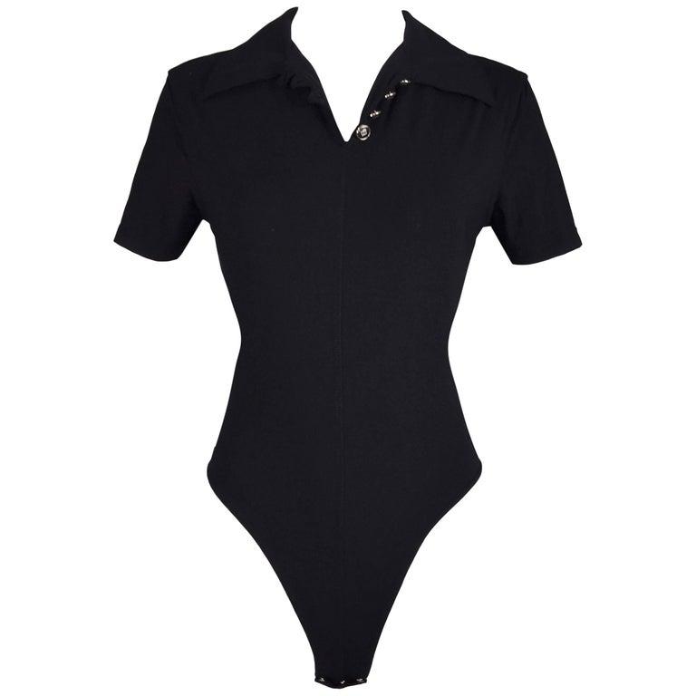1990's Fendi by Karl Lagerfeld Black Nylon V-Neck Bodysuit Top