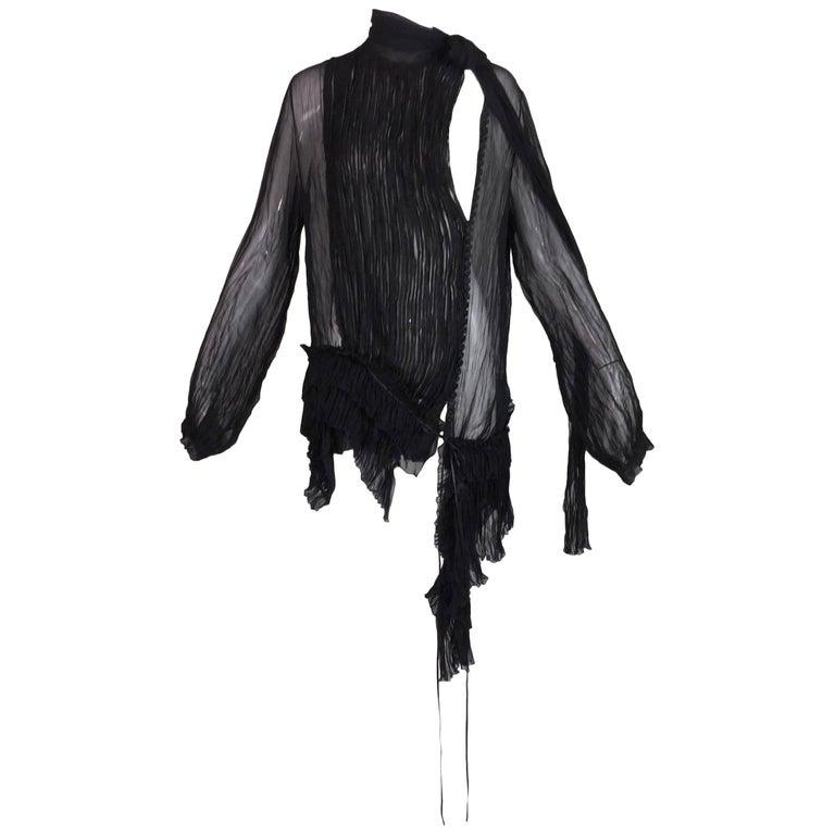 2000's Gianfranco Ferre Sheer Black Silk Pirate Asymmetrical Blouse Dress