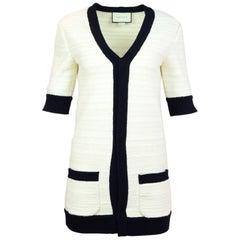 Gucci Cream & Navy Knit Cardigan Sz S