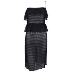 1970's Fendi by Karl Lagerfeld Sheer Black Ruffle Disco Dress