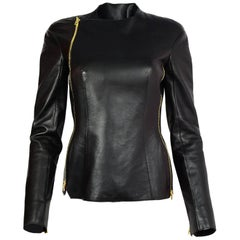 Tom Ford Black Leather & Calf Hair Jacket Sz IT 38