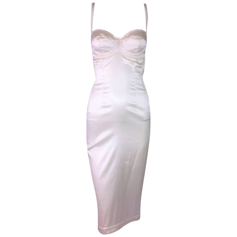 1996 Dolce & Gabbana Sheer Ivory Silk Stretch Satin Bra Pin-Up Wiggle Dress