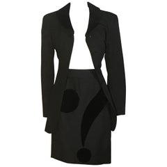 Moschino Cheap & Chic 1990s Black Question Mark Jacket and Skirt Suit