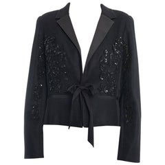 Oscar De La Renta SS 2016 Black Sequin Mesh Applique Evening Jacket - 8
