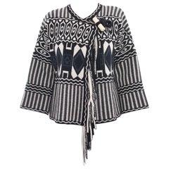 Chloe Pre-Fall 2015 Black Navy White Wool Toggle Sweater - 6