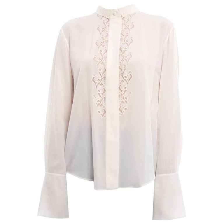 Chloe Milk White Silk Blouse with Lace Inset