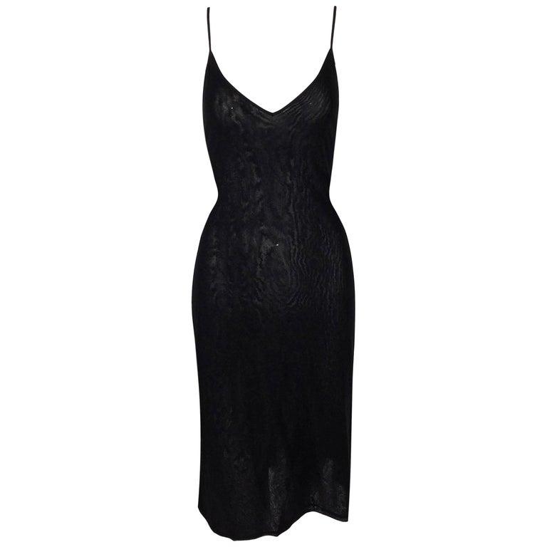 NWT 1990's Fendi by Karl Lagerfeld Sheer Black Nylon Plunging Slip Dress