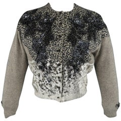 Libertine Grey Cashmere Blend Beaded and Painted Cardigan
