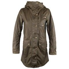 Belstaff Olive Coated Cotton Hooded Parka Coat