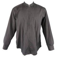 Comme Des Garcons Men's Charcoal Cotton Sewn Collar Zip Shirt