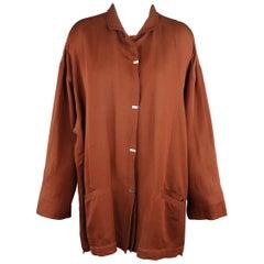 Issey Miyake Brown Rayon Blend Hidden Placket Oversized Jacket