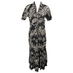 Issey Miyake Black and White Floral Paisley Wrinkle Collared Dress