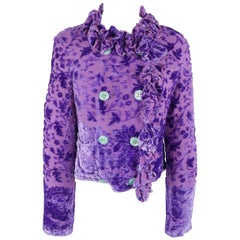 Voyage Purple Velvet Damask Burnout Silk Ruffle Trim Jacket