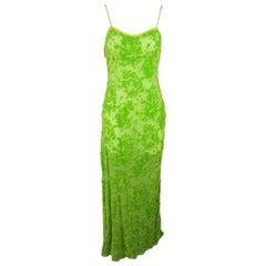 Voyage Green Silk Blend Damask Burnout Velvet Slip Dress