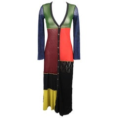 Jean Paul Gaultier Multi-Color Patchwork Elephant Back Mesh Long Cardigan