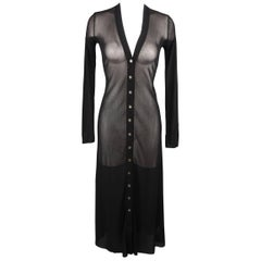 Jean Paul Gaultier Black Micro Mesh V Neck Cardigan Dress