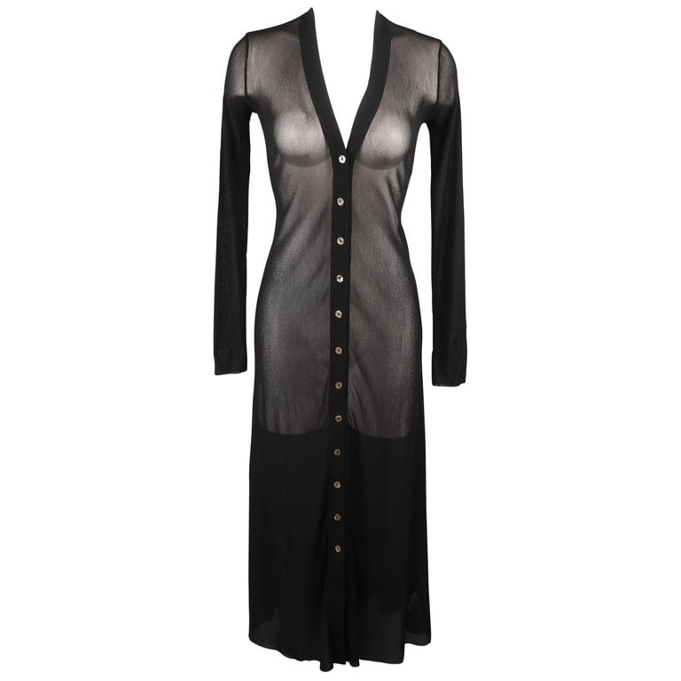 Jean Paul Gaultier Black Micro Mesh V Neck Cardigan Dress