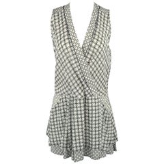 Proenza Schouler White and Green Chainlink Silk Wrap Ruffle Dress