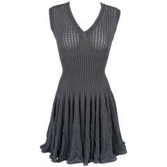 Alaia Blue Gray Cotton Blend Mesh Knit Ruffle Skirt Dress