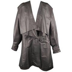 Issey Miyake Grey Metallic Twill Draped Collar Coat, 1980s