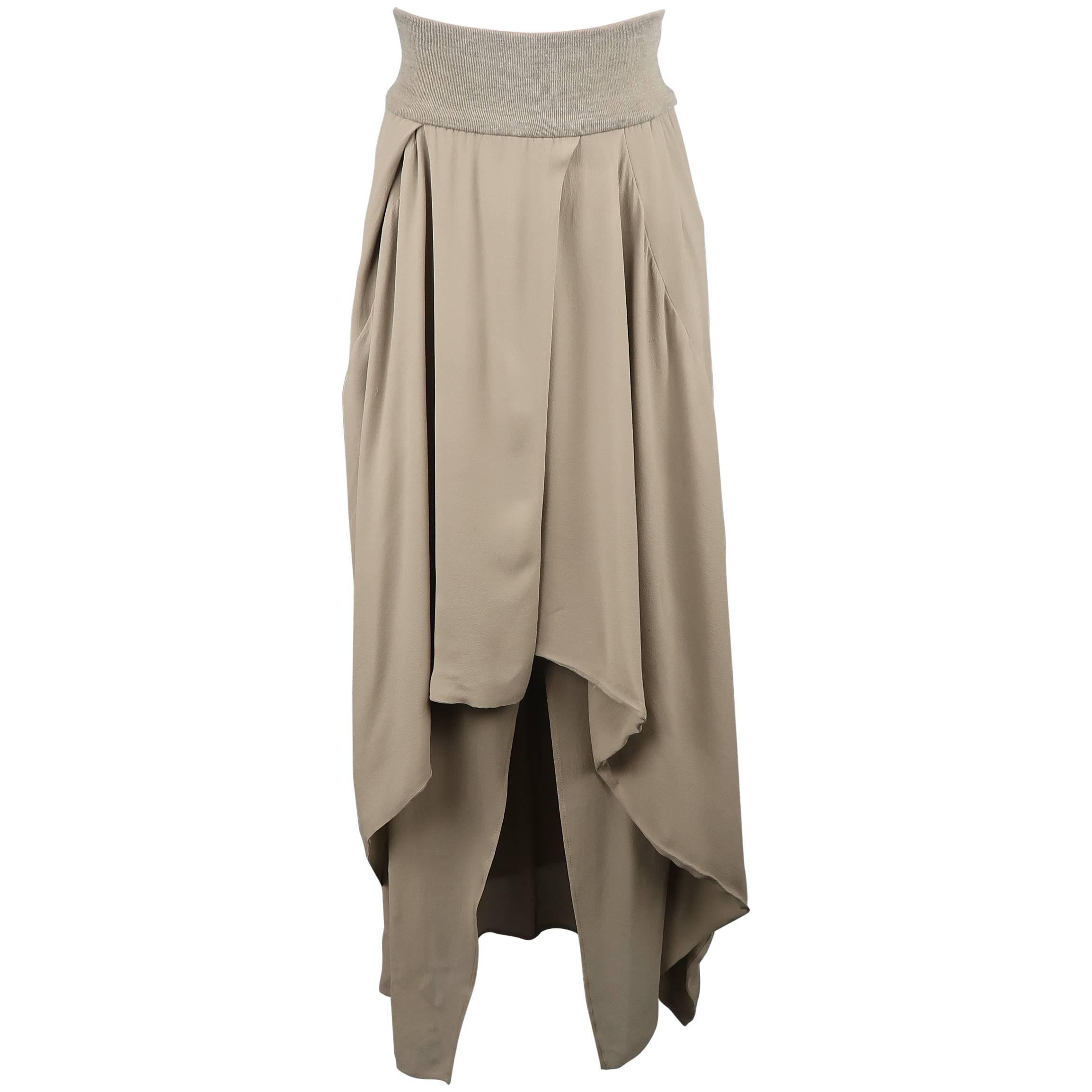 cc840fe1c Brunello Cucinelli Gray Silk Layered Drape High Low Skirt at 1stdibs