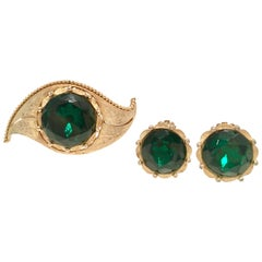 "1950'S Gold & Emerald Art Glass ""Evil Eye"" Demi Parure S/3 By, Charel"