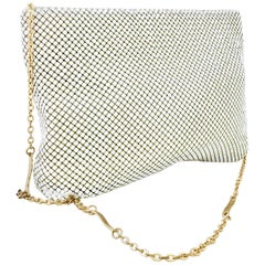 70'S Whiting & Davis White Metal Mesh & Gold Chain Link Strap Hand Bag