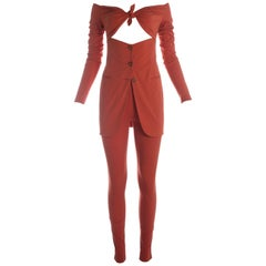 Dolce & Gabbana coral lycra and spandex pant suit, S / S 1991